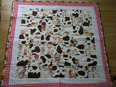Handmade Quilted Patchwork Baby Quilt Cot / Pram Cowboys & Cowgirls