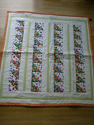Handmade Quilted Patchwork Baby Quilt Cot / Pram Marbles And Stars