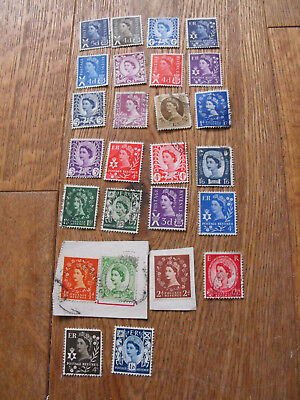 26 Pre-Decimal Stamps England Wales Scotland N Ireland Some Unfranked All VGC