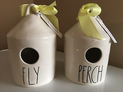 Rae Dunn Birdhouses FLY & PERCH By Magenta Artisan Collection Set of 2 LL
