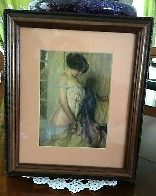 Vintage Art Print Of French Lady In Glass Frame Beautiful Piece
