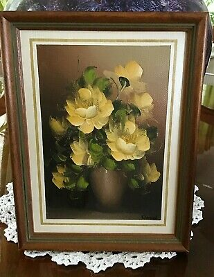 Vintage Art Small Oil Painting Yellow Roses By Daniel