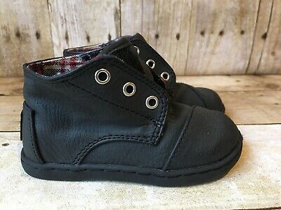 Toms Little Boys Paseo Mid Top Casual Shoes Black Leather Toddler Size 6 EUC