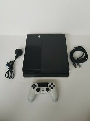 PS4 Sony PlayStation 4 Jet Black 500GB Games Console W/Cables & White Controller