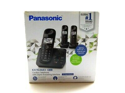 Panasonic KX-TG3683 Cordless Phone Digital Answering Machine 3 Handsets