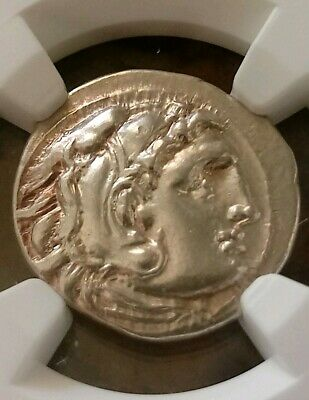Kingdom Of Macedon Alexander III Drachm NGC AU Ancient Silver Coin The Great