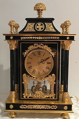 """Seiko 18"""" Gilded Brass  Mantel Clock French Style"""