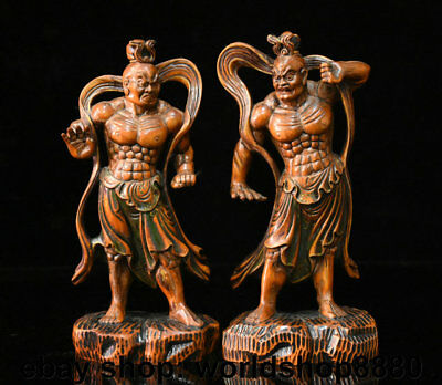 """7.8"""" Antique Chinese Boxwood Wood Carved Myth Hengha Two Door God Statue Pair"""