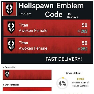 DESTINY 2 HELLSPAWN RARE Emblem Code for PS4/PC/XBox One with SAME DAY  DELIVERY!