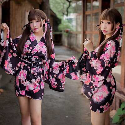 High-quality Japanese Printed Cherry Blossom Kimono Suit Sexy Nightwear Lingerie