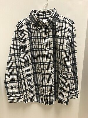 Boys Gymboree long sleeve blue and white plaid button down shirt; size 7-8!