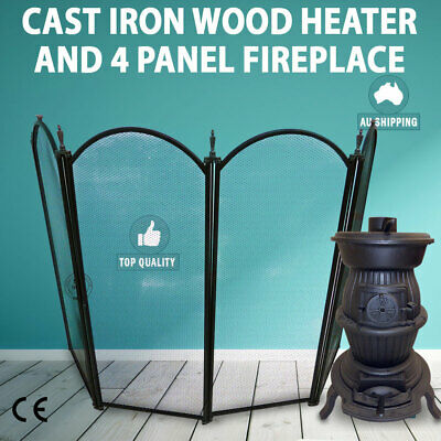 NEW Cast Iron Wood Heater Pot Belly Heater Slow Combustion & 4 Panel fire Screen