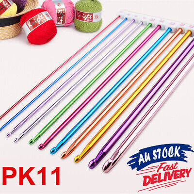 11Pcs Afghan Aluminum Knitting Tools Crochet Colourful Sweater Needles Beads