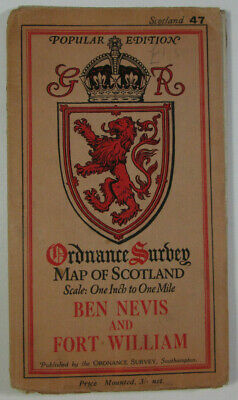 1928 OS Ordnance Survey Popular Ed Scotland 1-Inch Map 47 Ben Nevis Fort William
