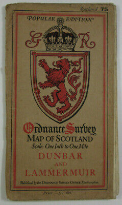 1926 Old OS Ordnance Survey Popular Edition One-Inch Map 75 Dunbar & Lammermuir
