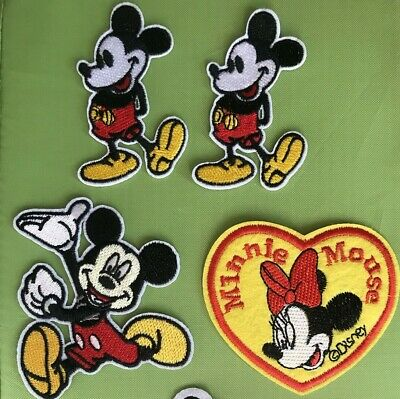 "Disney mickey mouse Cartoon embroidery patch SEW//IRON ON 4pieces MIX NEW 3/""x2/"""