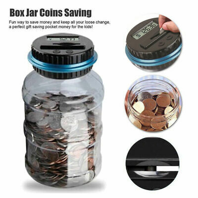Clear Digital Piggy Bank Coin Saving Counter LCD screen Counting Money Jar Box