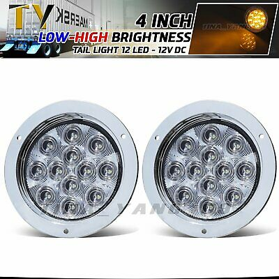 "2 x 4"" Round 12 LED Clear Lens Amber Surface Turn Signal Tail Light 12V RV Truck"