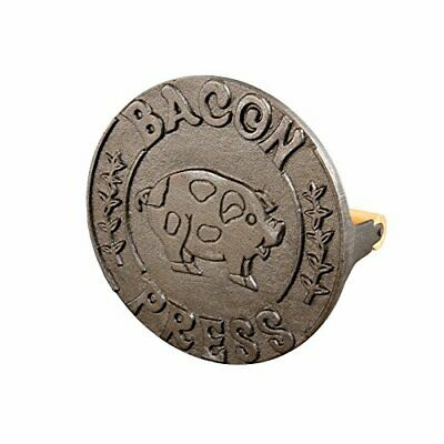 HIC Bacon Press and Steak Weight, Heavyweight Cast Iron with Wooden Handle, For