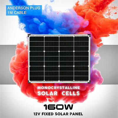 12V 160W Solar Panel Kit Mono Fixed Camping Caravan Boat Charging Power Source