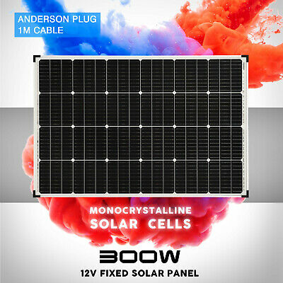 12V 200W Solar Panel Kit Mono Fixed Camping Caravan Boat Charging Power Source
