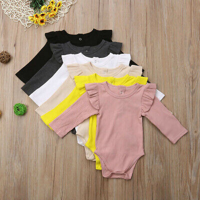 Toddler Baby Kids Girls Boys Long Sleeve Ruched Solid Romper Bodysuit Clothes UK