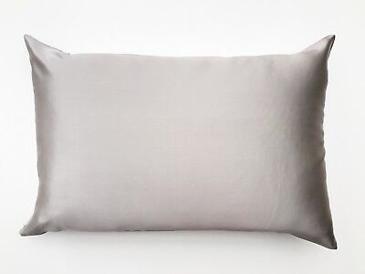 1x TAUPE GREY 100% Mulberry Silk Both Sides Pillowcase 22 Momme Premium Quality