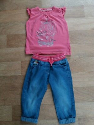 Girls T Shirt & Soft Jersey Jeans Outfit Age 2-3 Years
