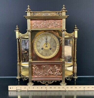 Large Gorgeous Antique French Bronze / Brass Clock With Cherubs Fine Details