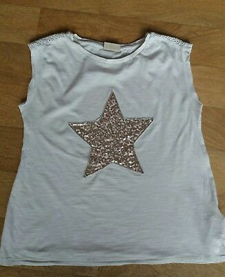 Next Girls Gold Sparkly Star T Shirt Age 9-10 Years