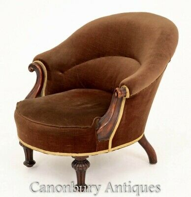Victorian Tub Chair - Mahogany Antique Seat 1860