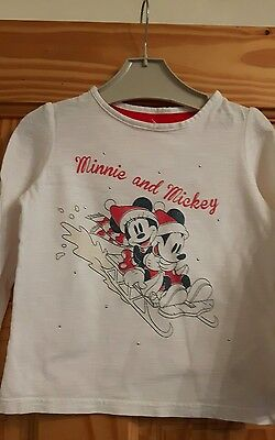 Christmas M&S Girls Mickey Mouse Top Age 2-3 years