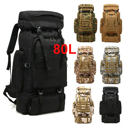 80L Rucksack Luggage Bag Extra Large Oxford Backpack Travel Hiking Camping s3d