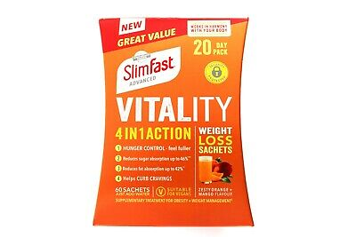 SlimFast Advanced Vitality 4 In 1 Action Weight Loss Sachets - 60 Sachets