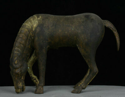 "14"" Chinese Old antique Bronze Dynasty Palace War Horses Animal Statue Sculpture"