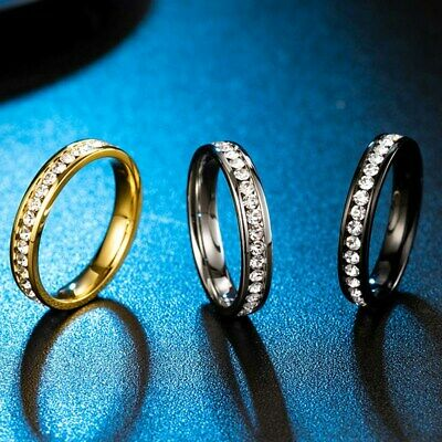 4MM Silver/Gold/Black Titanium Steel Cz Engagement Bands Women's Rings Size 5-10