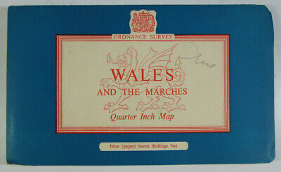 1963 Old Vintage OS Ordnance Survey Quarter-Inch Tourist Map Wales & The Marches