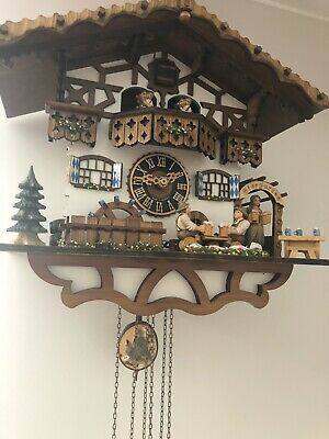 Black Forest cookoo Clock Biergarten Scene  Water Wheel  Comes With 3 Weights