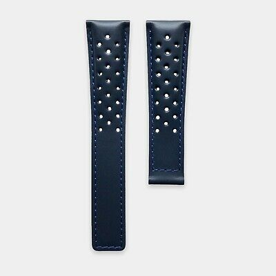 Navy Blue Genuine Leather Perforated Racing Watch Strap Band Made for TAG Heuer