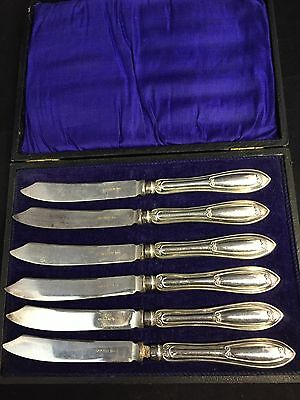 6 Art Deco Silver Plated Tea/Butter Knives By Walker & Hall #GA