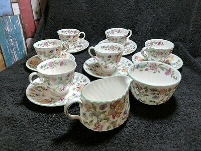 Minton Haddon Hall Set 6 Coffee Cup And Saucer Milk And Sugar   - 1St Quality