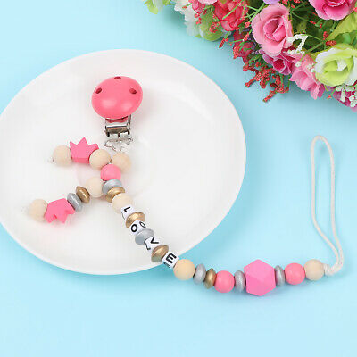 Wood Beads Pacifier Clip Chain  Teething Toy  Baby Nipple Clips Dummy Holder