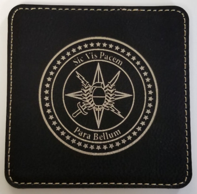 """CIA Clandestine Service /""""Here Begins The Great Game/"""" Leather Coasters  Set of 4"""