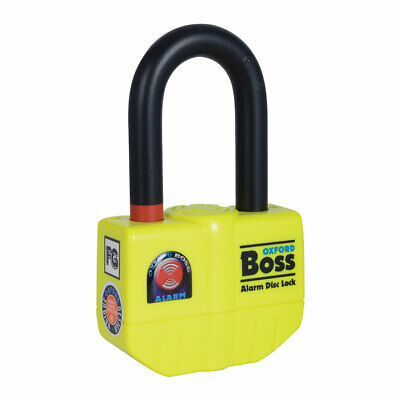 Oxford Boss Motorcycle Motorbike Alarm Disc Lock Yellow - 14mm
