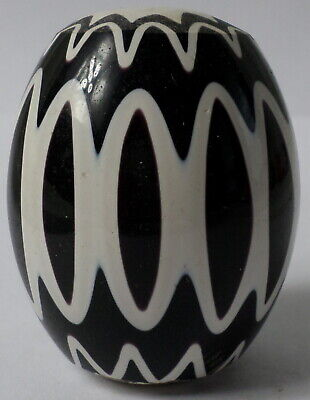 Vintage Venetian Black and White XL African Glass Trade Bead 57x47mm Focal 10