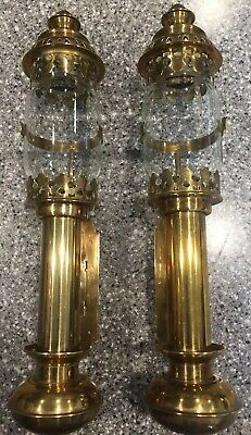 2 Antique 19th Century Brass Carriage Lanterns Wall Sconce Train Coach Oil Lamps
