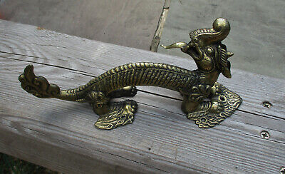 """Vintage Chinese Style Large Brass Dragon Door Handle 10.75"""" 1158grms VGC"""