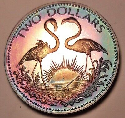1974 Bahamas Copper-Nickel Two Dollars Bu Unc Color Toned Coin