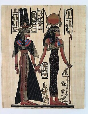 Egyptian Hand-Painted Art on Papyrus or Parchment Paper Couple King Queen