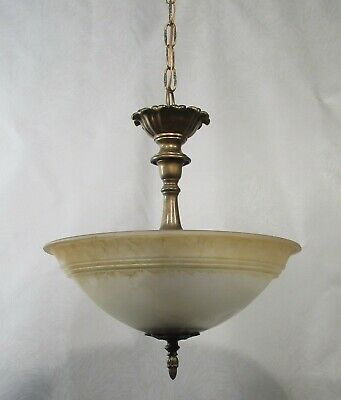Antique Vintage Chandelier Pendant 3 Light Glass  Fixture Lamp Rewired